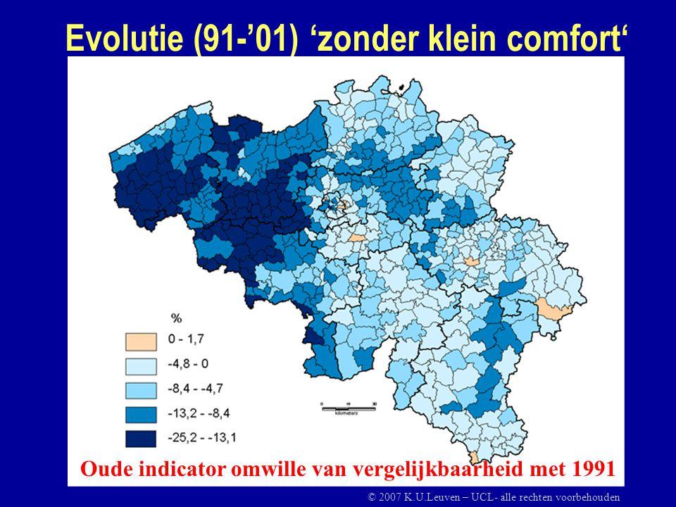 Evolutie (91-'01) 'zonder klein comfort' Oude indicator omwille van vergelijkbaarheid met 1991 © 2007 K.U.Leuven – UCL- alle rechten voorbehouden