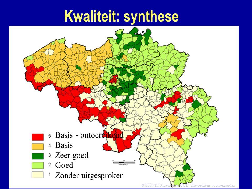 Kwaliteit: synthese Basis - ontoereikend Basis Zeer goed Goed Zonder uitgesproken © 2007 K.U.Leuven – UCL- alle rechten voorbehouden