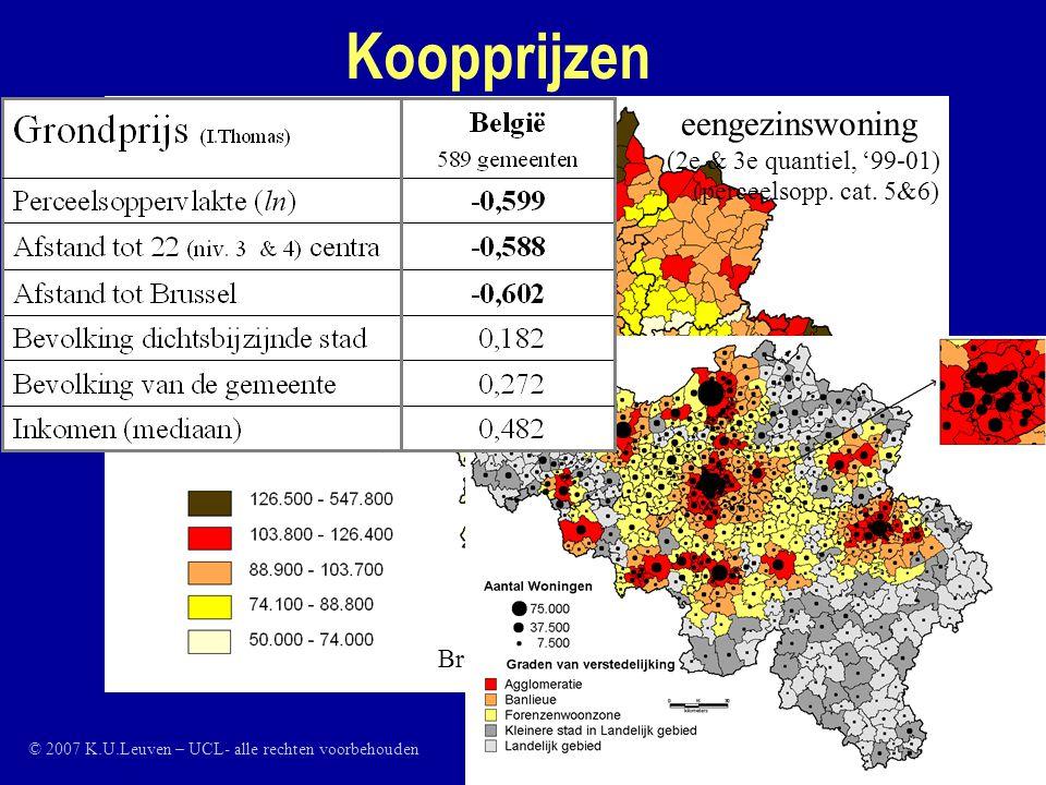 Bron data: Stadim Koopprijzen Gemiddelde prijs van een eengezinswoning (2e & 3e quantiel, '99-01) (perceelsopp.