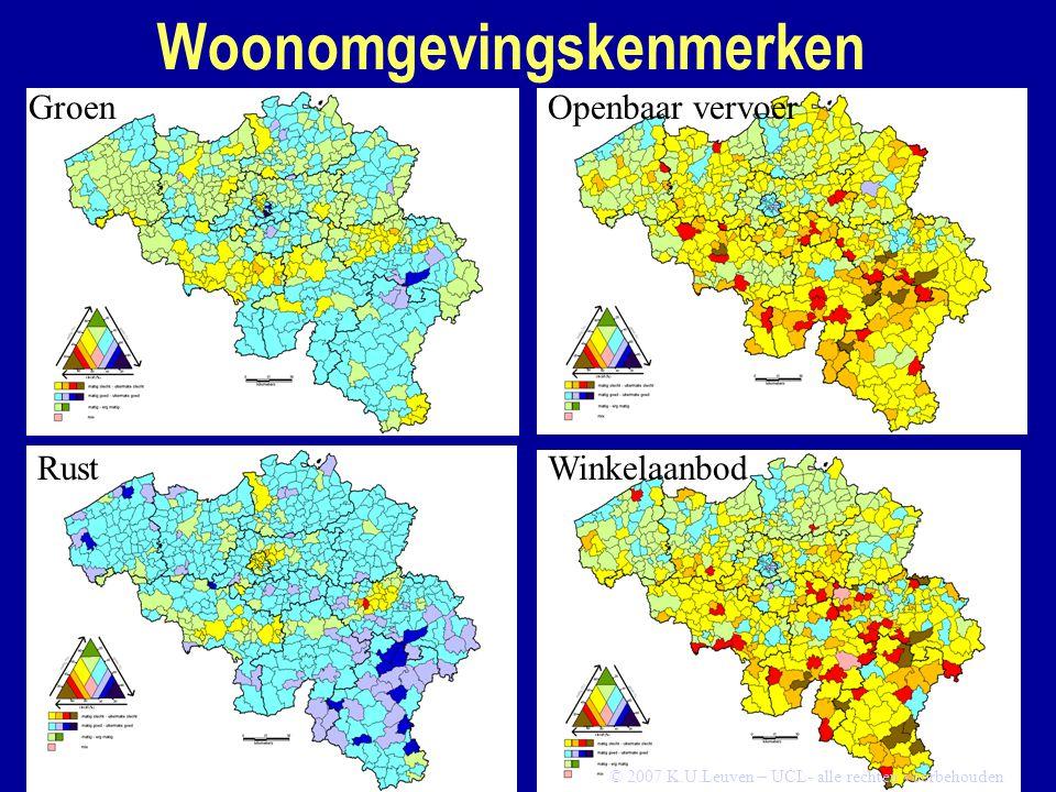 Woonomgevingskenmerken Groen Rust Openbaar vervoer Winkelaanbod © 2007 K.U.Leuven – UCL- alle rechten voorbehouden