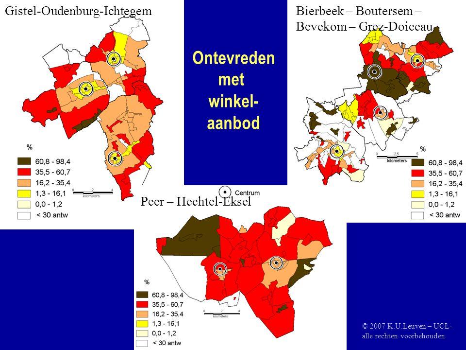 Ontevreden met winkel- aanbod Gistel-Oudenburg-IchtegemBierbeek – Boutersem – Bevekom – Grez-Doiceau Peer – Hechtel-Eksel © 2007 K.U.Leuven – UCL- alle rechten voorbehouden