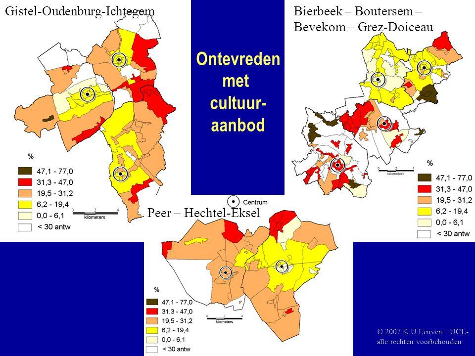 Ontevreden met cultuur- aanbod Gistel-Oudenburg-IchtegemBierbeek – Boutersem – Bevekom – Grez-Doiceau Peer – Hechtel-Eksel © 2007 K.U.Leuven – UCL- alle rechten voorbehouden