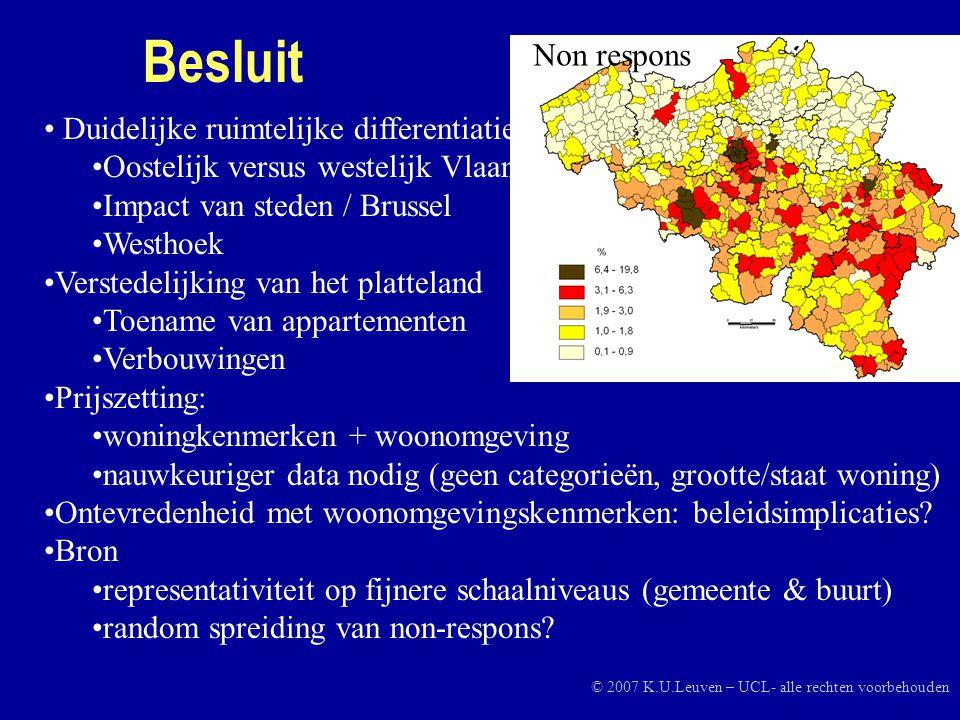 Besluit • Duidelijke ruimtelijke differentiatie •Oostelijk versus westelijk Vlaanderen •Impact van steden / Brussel •Westhoek •Verstedelijking van het platteland •Toename van appartementen •Verbouwingen •Prijszetting: •woningkenmerken + woonomgeving •nauwkeuriger data nodig (geen categorieën, grootte/staat woning) •Ontevredenheid met woonomgevingskenmerken: beleidsimplicaties.