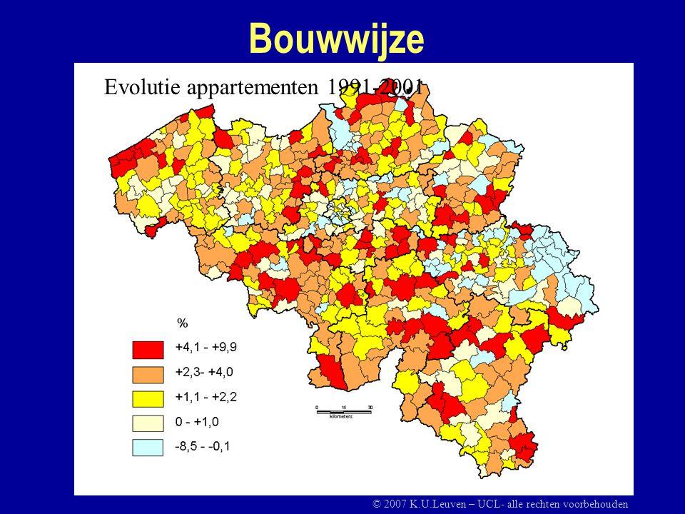 Bouwwijze Evolutie appartementen 1991-2001 © 2007 K.U.Leuven – UCL- alle rechten voorbehouden
