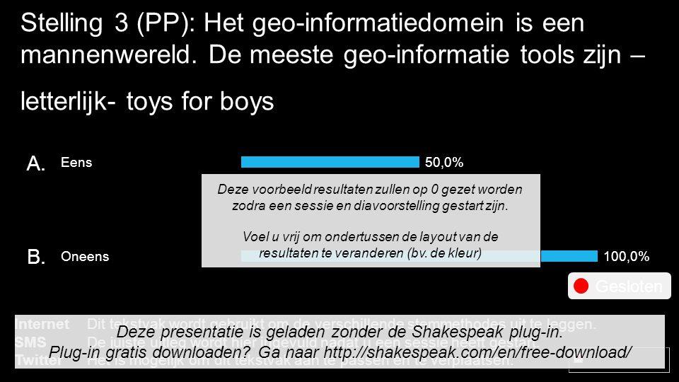 Stelling 3 (PP): Het geo-informatiedomein is een mannenwereld.