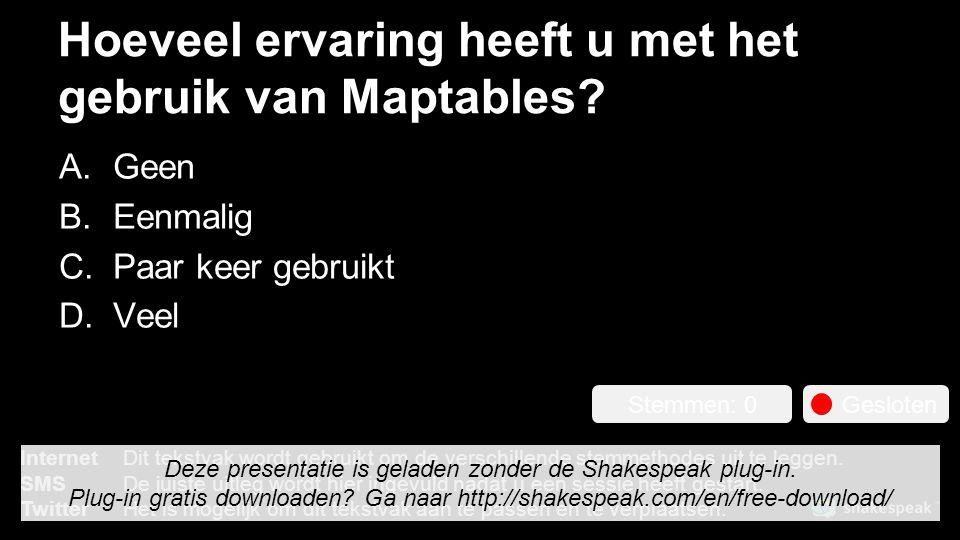 Hoeveel ervaring heeft u met het gebruik van Maptables.