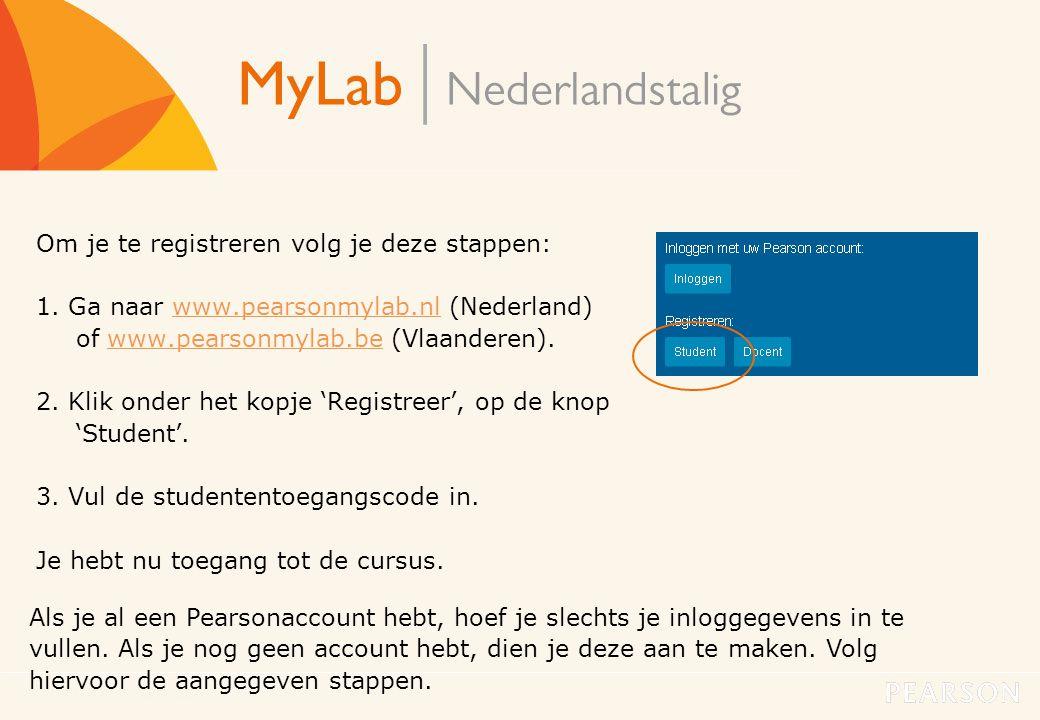 MyLab Nederlandstalig3 Om je te registreren volg je deze stappen: 1. Ga naar www.pearsonmylab.nl (Nederland) of www.pearsonmylab.be (Vlaanderen).www.p