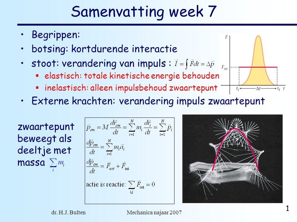 dr. H.J. Bulten Mechanica najaar 2007 1 Samenvatting week 7 •Begrippen: •botsing: kortdurende interactie •stoot: verandering van impuls :  elastisch: