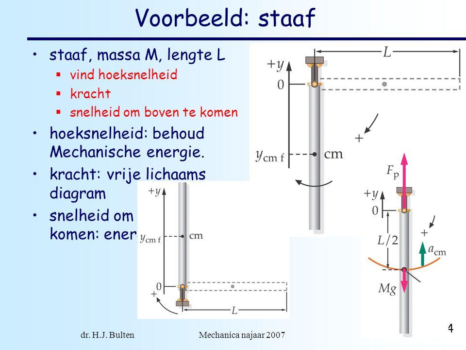 dr. H.J. Bulten Mechanica najaar 2007 14 Voorbeeld: staaf •staaf, massa M, lengte L  vind hoeksnelheid  kracht  snelheid om boven te komen •hoeksne
