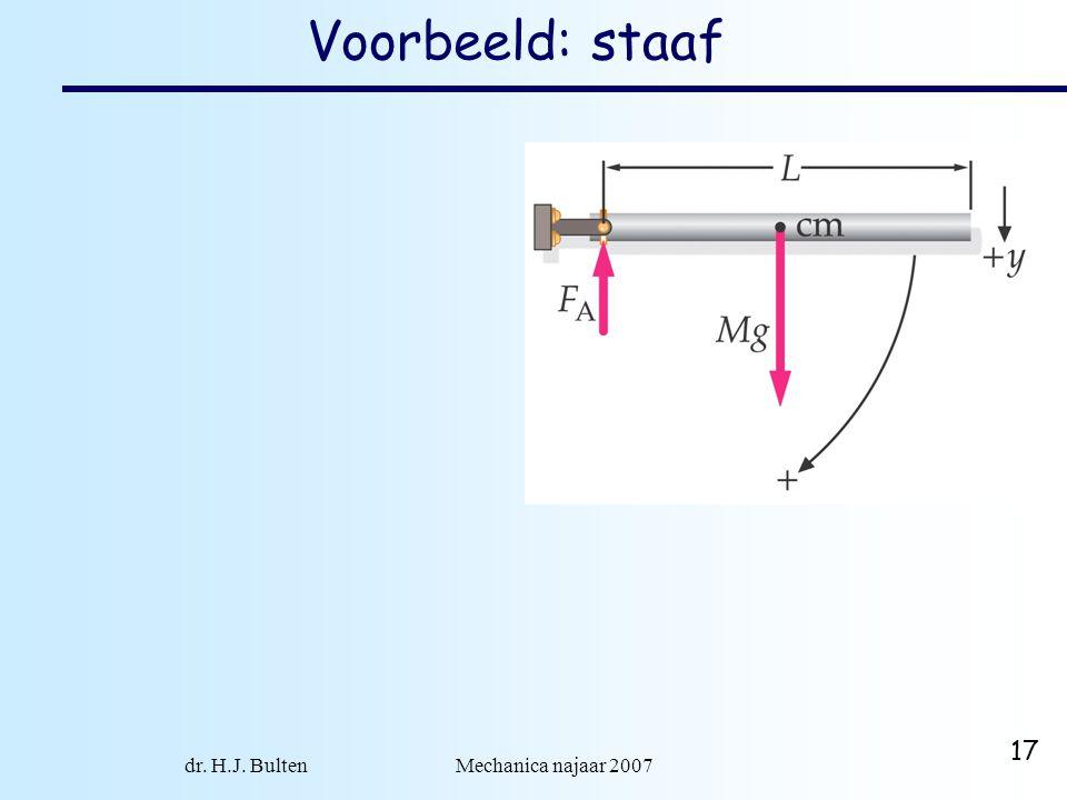 dr. H.J. Bulten Mechanica najaar 2007 17 Voorbeeld: staaf