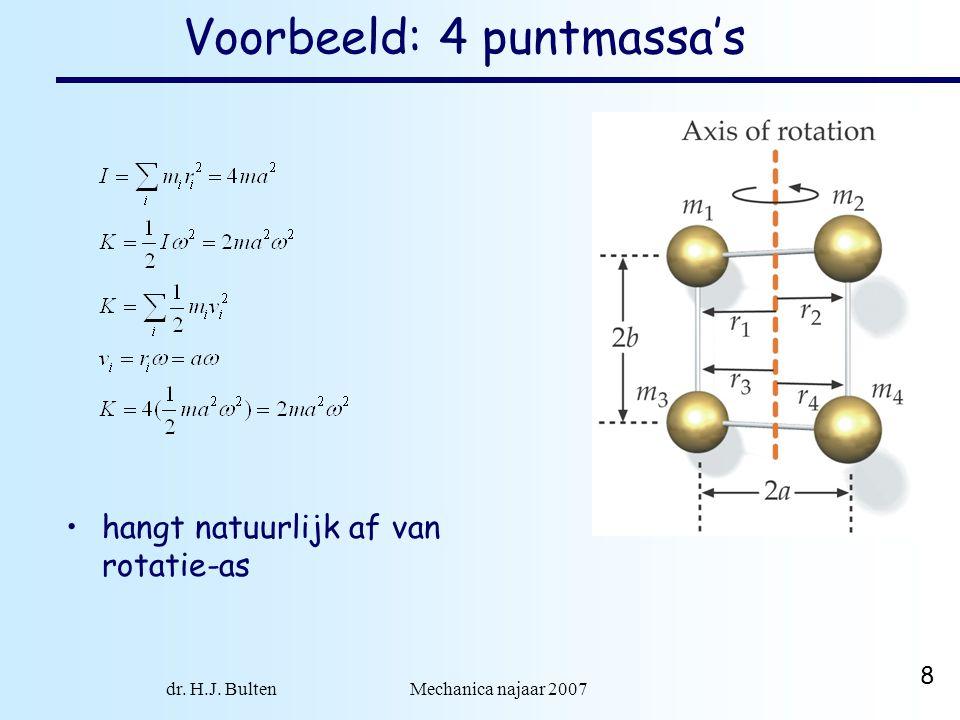 dr. H.J. Bulten Mechanica najaar 2007 8 Voorbeeld: 4 puntmassa's •hangt natuurlijk af van rotatie-as
