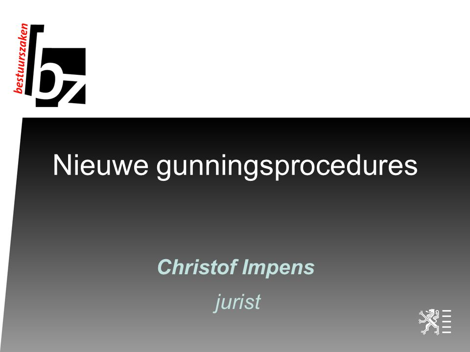 Nieuwe gunningsprocedures Christof Impens jurist