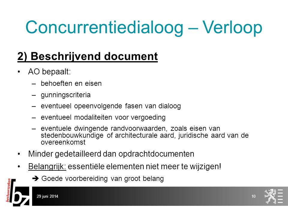 29 juni 201410 Concurrentiedialoog – Verloop 2) Beschrijvend document •AO bepaalt: –behoeften en eisen –gunningscriteria –eventueel opeenvolgende fase