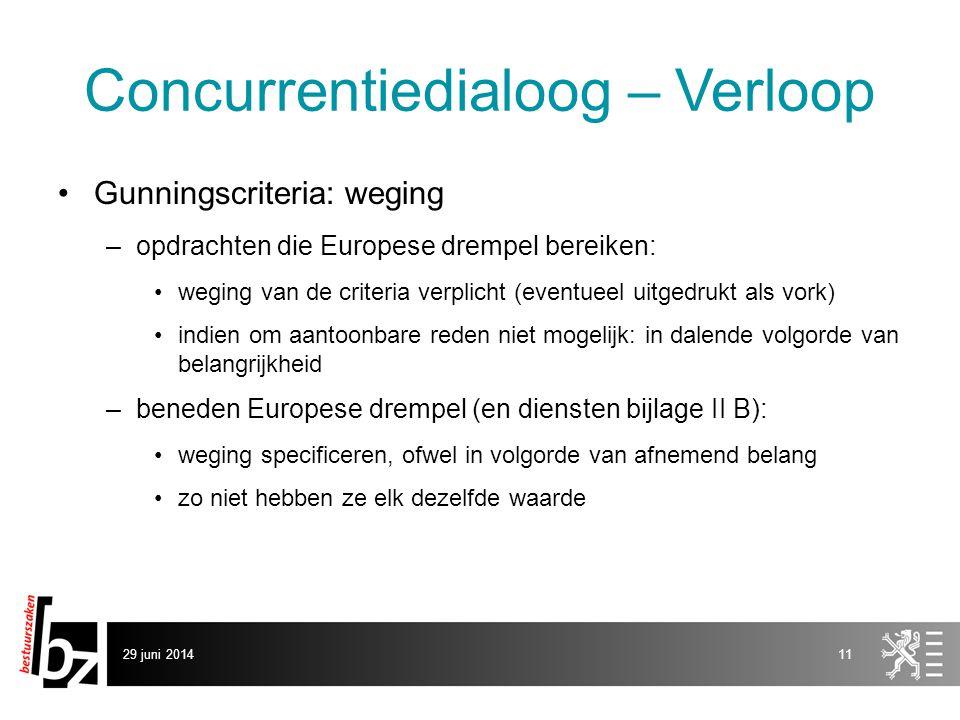 29 juni 201411 Concurrentiedialoog – Verloop •Gunningscriteria: weging –opdrachten die Europese drempel bereiken: •weging van de criteria verplicht (e