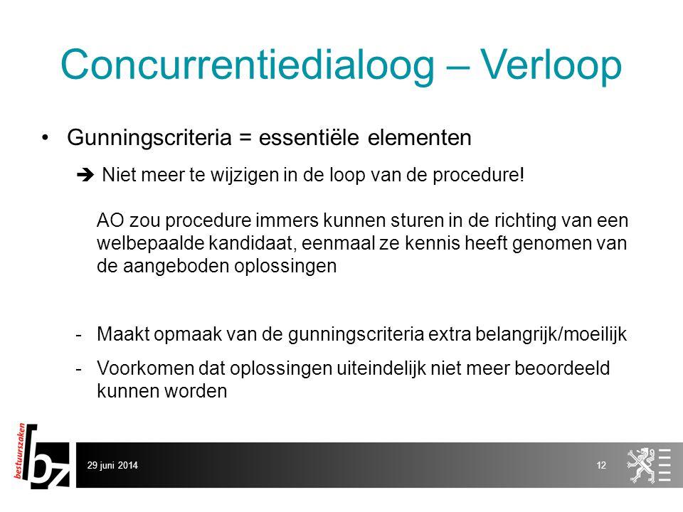 29 juni 201412 Concurrentiedialoog – Verloop •Gunningscriteria = essentiële elementen  Niet meer te wijzigen in de loop van de procedure! AO zou proc