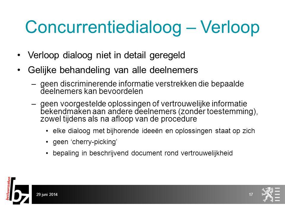 29 juni 201417 Concurrentiedialoog – Verloop •Verloop dialoog niet in detail geregeld •Gelijke behandeling van alle deelnemers –geen discriminerende i