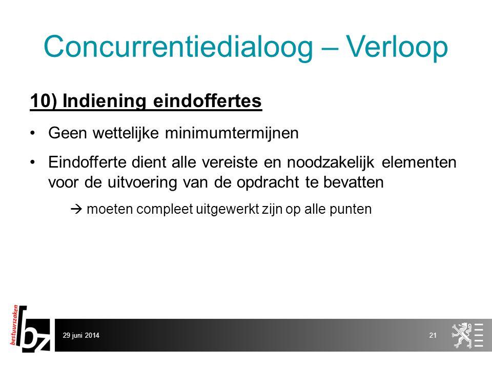 29 juni 201421 Concurrentiedialoog – Verloop 10) Indiening eindoffertes •Geen wettelijke minimumtermijnen •Eindofferte dient alle vereiste en noodzake