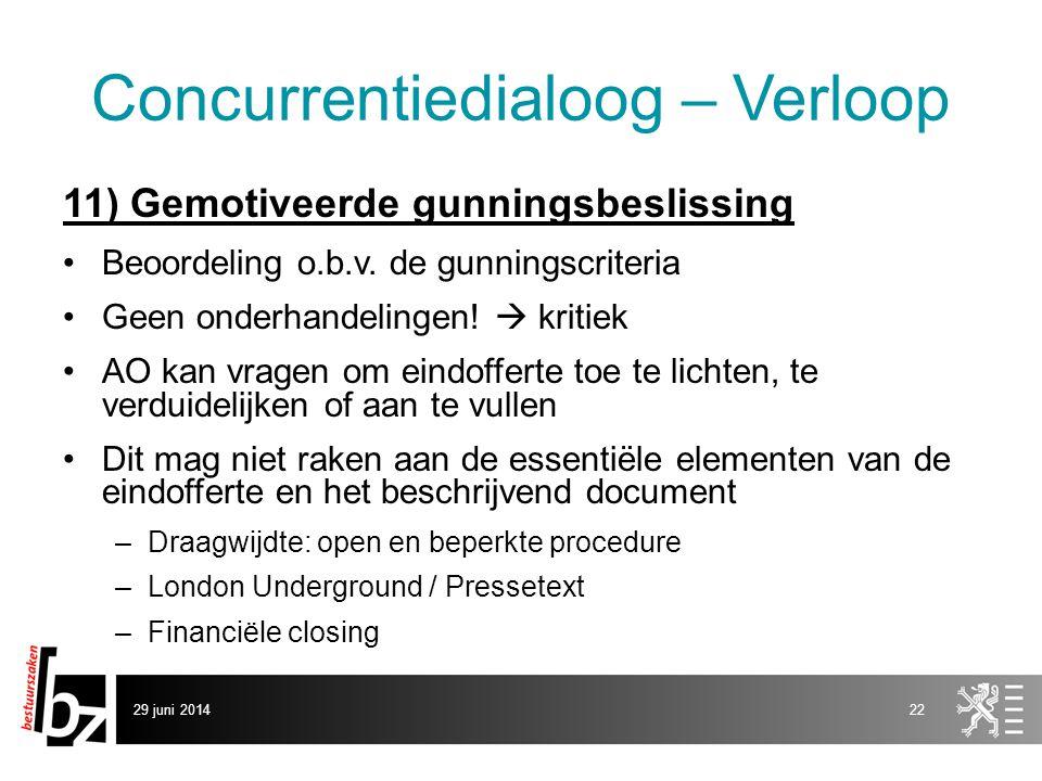 29 juni 201422 Concurrentiedialoog – Verloop 11) Gemotiveerde gunningsbeslissing •Beoordeling o.b.v. de gunningscriteria •Geen onderhandelingen!  kri