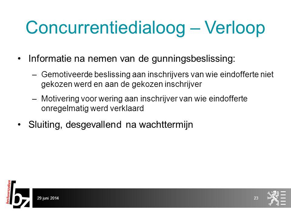 29 juni 201423 Concurrentiedialoog – Verloop •Informatie na nemen van de gunningsbeslissing: –Gemotiveerde beslissing aan inschrijvers van wie eindoff