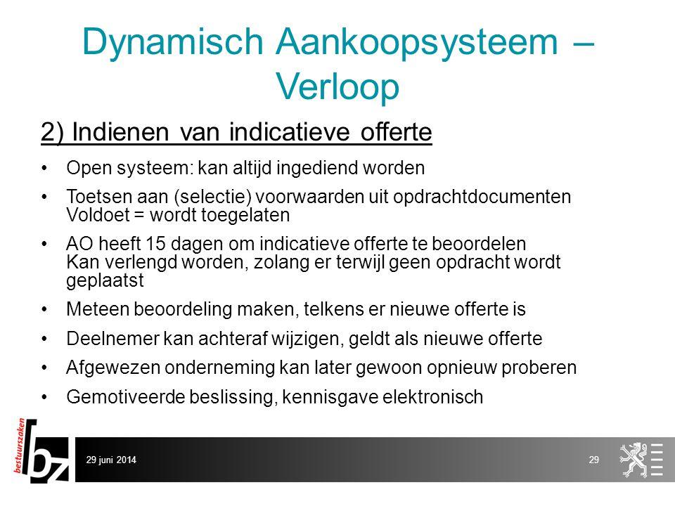 29 juni 201429 Dynamisch Aankoopsysteem – Verloop 2) Indienen van indicatieve offerte •Open systeem: kan altijd ingediend worden •Toetsen aan (selecti