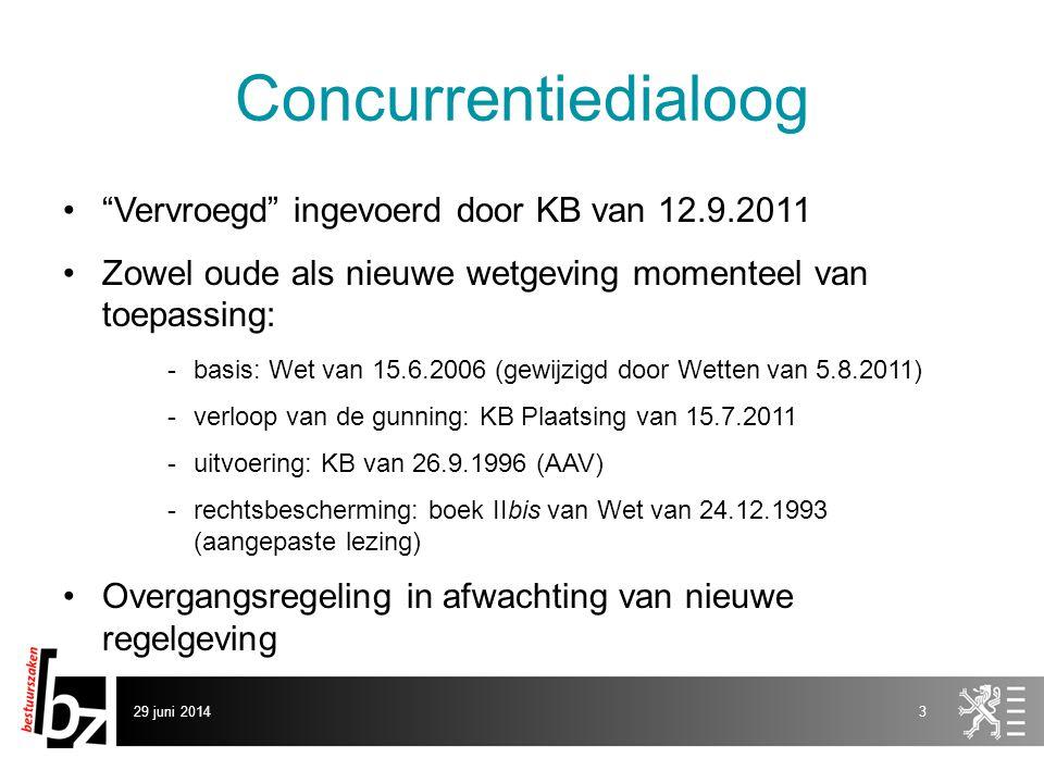 """29 juni 20143 Concurrentiedialoog •""""Vervroegd"""" ingevoerd door KB van 12.9.2011 •Zowel oude als nieuwe wetgeving momenteel van toepassing: -basis: Wet"""