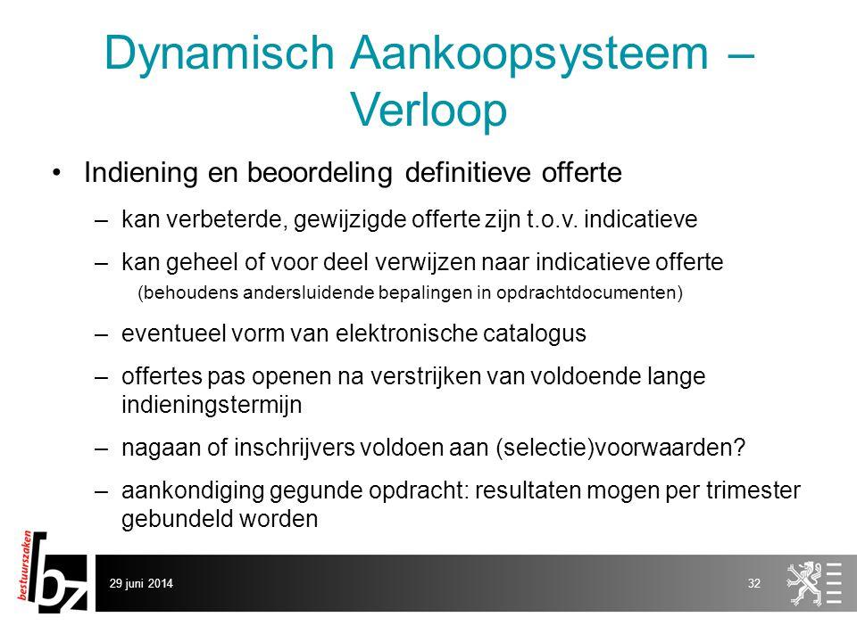 29 juni 201432 Dynamisch Aankoopsysteem – Verloop •Indiening en beoordeling definitieve offerte –kan verbeterde, gewijzigde offerte zijn t.o.v. indica