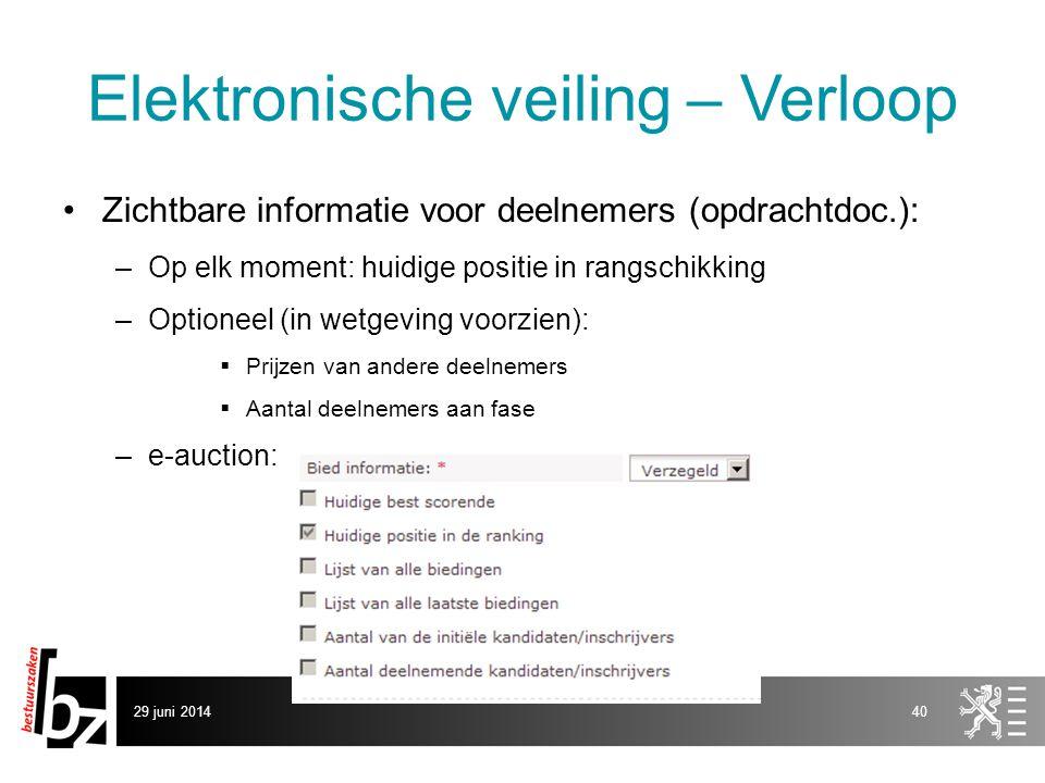 29 juni 201440 Elektronische veiling – Verloop •Zichtbare informatie voor deelnemers (opdrachtdoc.): –Op elk moment: huidige positie in rangschikking
