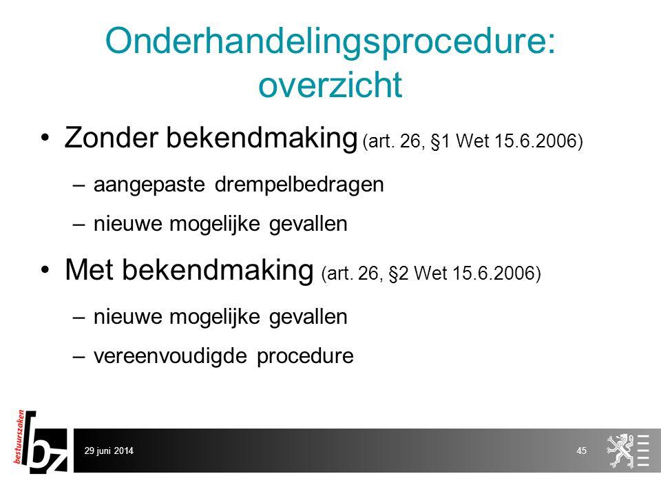 29 juni 201445 Onderhandelingsprocedure: overzicht •Zonder bekendmaking (art. 26, §1 Wet 15.6.2006) –aangepaste drempelbedragen –nieuwe mogelijke geva