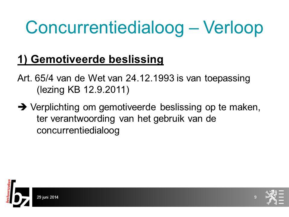 29 juni 20149 Concurrentiedialoog – Verloop 1) Gemotiveerde beslissing Art. 65/4 van de Wet van 24.12.1993 is van toepassing (lezing KB 12.9.2011)  V