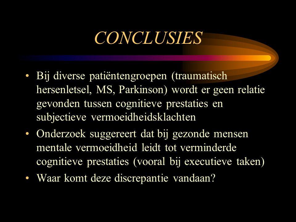 CONCLUSIES •Bij diverse patiëntengroepen (traumatisch hersenletsel, MS, Parkinson) wordt er geen relatie gevonden tussen cognitieve prestaties en subj