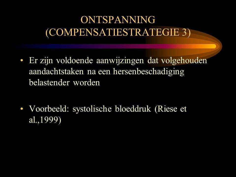 ONTSPANNING (COMPENSATIESTRATEGIE 3) •Er zijn voldoende aanwijzingen dat volgehouden aandachtstaken na een hersenbeschadiging belastender worden •Voor