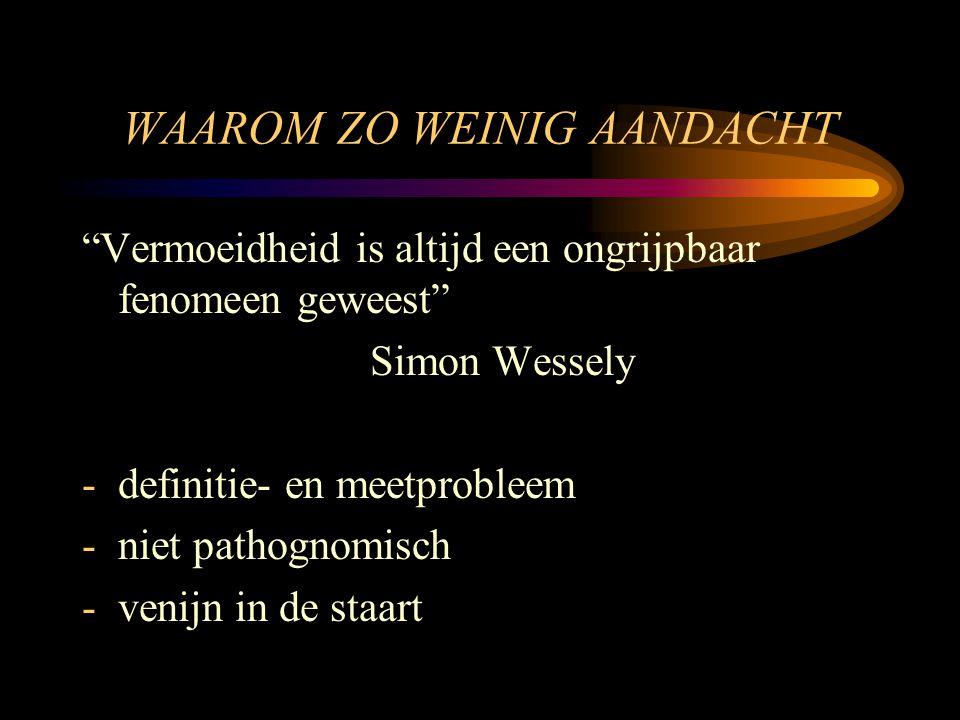 """WAAROM ZO WEINIG AANDACHT """"Vermoeidheid is altijd een ongrijpbaar fenomeen geweest"""" Simon Wessely -definitie- en meetprobleem -niet pathognomisch -ven"""