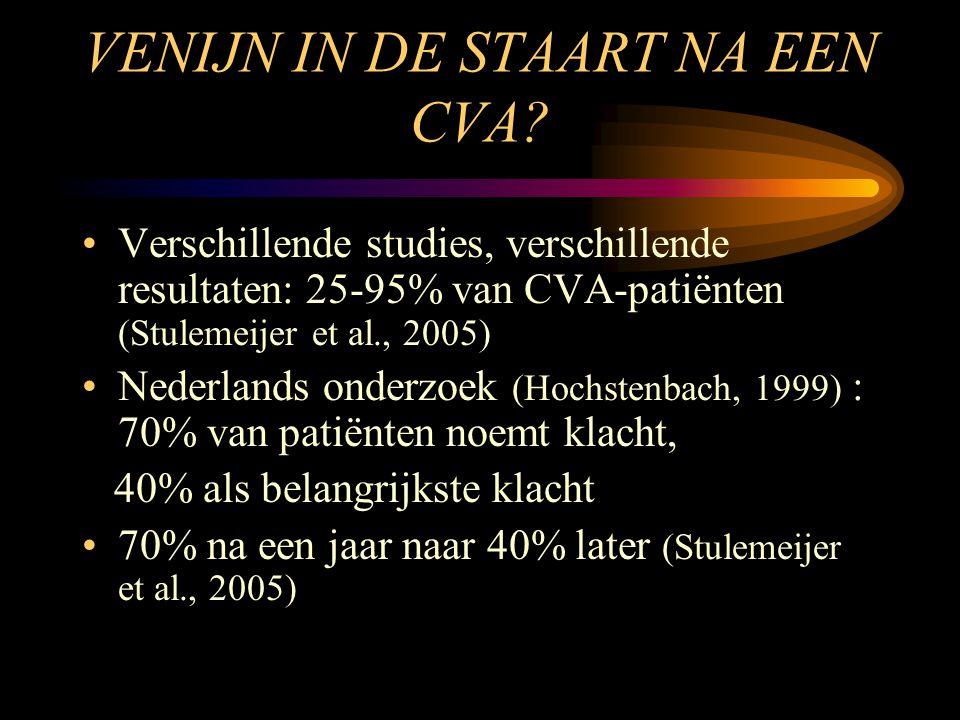 VENIJN IN DE STAART NA EEN CVA? •Verschillende studies, verschillende resultaten: 25-95% van CVA-patiënten (Stulemeijer et al., 2005) •Nederlands onde