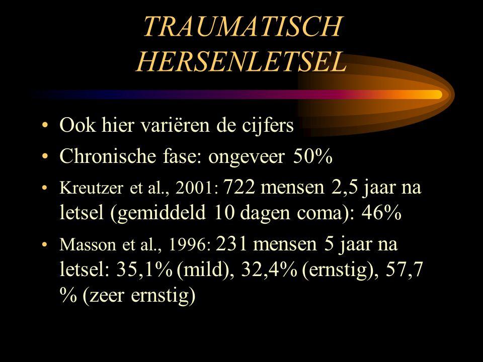 TRAUMATISCH HERSENLETSEL •Ook hier variëren de cijfers •Chronische fase: ongeveer 50% •Kreutzer et al., 2001: 722 mensen 2,5 jaar na letsel (gemiddeld