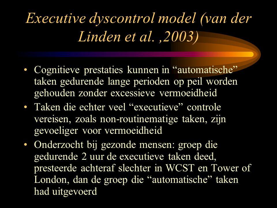 """Executive dyscontrol model (van der Linden et al.,2003) •Cognitieve prestaties kunnen in """"automatische"""" taken gedurende lange perioden op peil worden"""