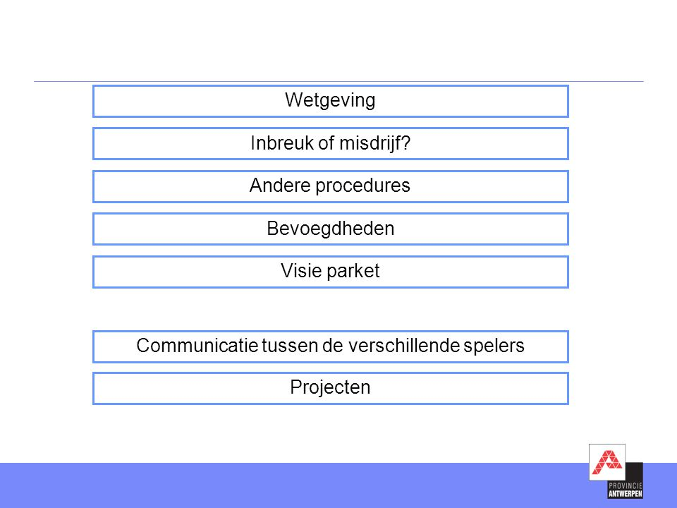 Klasse 2, klasse 3, niet-ingedeelde inrichtingen en vrije velddelicten  Titel III DABM (bedrijfsinterne milieuzorg) en uitvoeringsbesluiten  Wet luchtverontreiniging en uitvoeringsbesluiten  Wet oppervlaktewateren en uitvoeringsbesluiten, wat lozing van afvalwater en opsporing waterverontreiniging betreft  Wet geluidshinder en uitvoeringsbesluiten  Art 11, 12, 13, 14, 17, 18 en 20 afvalstoffendecreet en uitvoeringsbesluiten  Grondwaterdecreet en uitvoeringsbesluiten  Milieuvergunningendecreet en uitvoeringsbesluiten  Mestdecreet en uitvoeringsbesluiten  4 EG-verordeningen (ozonlaagafbrekende stoffen, dierlijke bijproducten, persistente organische verontreinigende stoffen, overbrenging van afvalstoffen) Klasse 1  Wetgeving zie lijst hierboven  Enkel vaststellingen op basis van zintuiglijke waarnemingen en onderzoek van zaken Lokale toezichthouder: bevoegdheden
