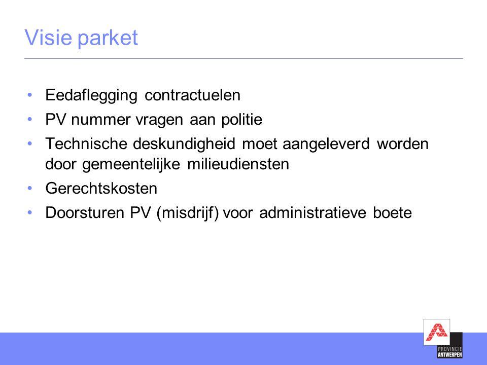 Visie parket •Eedaflegging contractuelen •PV nummer vragen aan politie •Technische deskundigheid moet aangeleverd worden door gemeentelijke milieudien