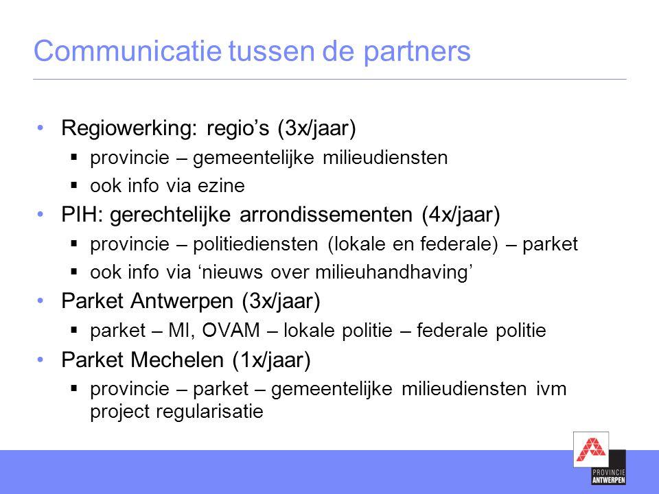 Communicatie tussen de partners •Regiowerking: regio's (3x/jaar)  provincie – gemeentelijke milieudiensten  ook info via ezine •PIH: gerechtelijke a