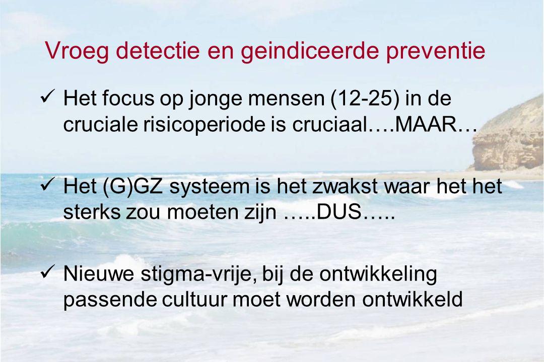 Vroeg detectie en geindiceerde preventie  Het focus op jonge mensen (12-25) in de cruciale risicoperiode is cruciaal….MAAR…  Het (G)GZ systeem is het zwakst waar het het sterks zou moeten zijn …..DUS…..