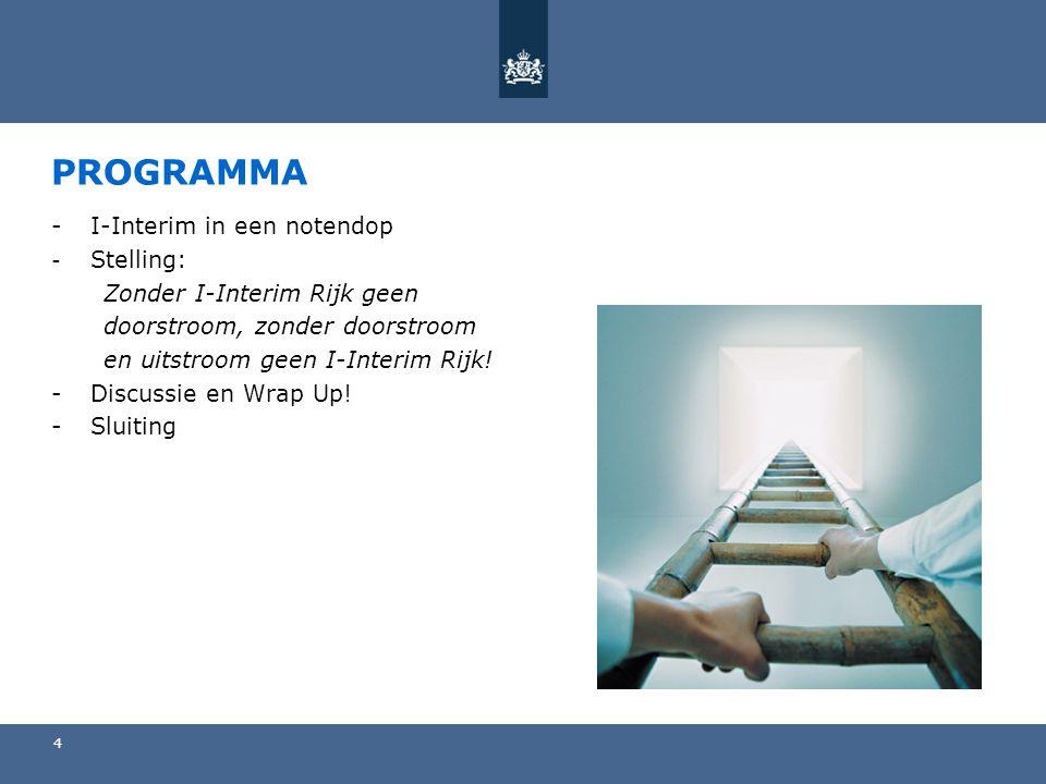 4 PROGRAMMA -I-Interim in een notendop - Stelling: Zonder I-Interim Rijk geen doorstroom, zonder doorstroom en uitstroom geen I-Interim Rijk.