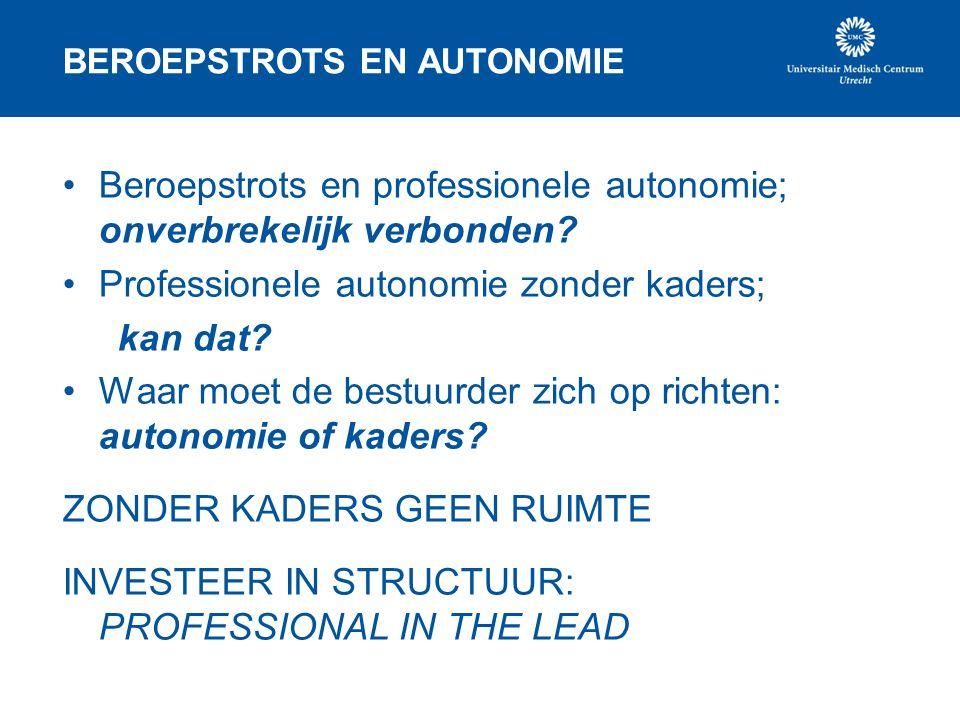 BEROEPSTROTS EN AUTONOMIE •Beroepstrots en professionele autonomie; onverbrekelijk verbonden? •Professionele autonomie zonder kaders; kan dat? •Waar m