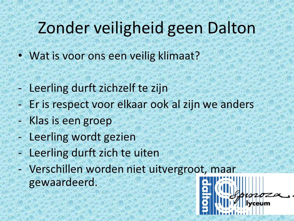 Zonder veiligheid geen Dalton • Wat is voor ons een veilig klimaat? -Leerling durft zichzelf te zijn -Er is respect voor elkaar ook al zijn we anders