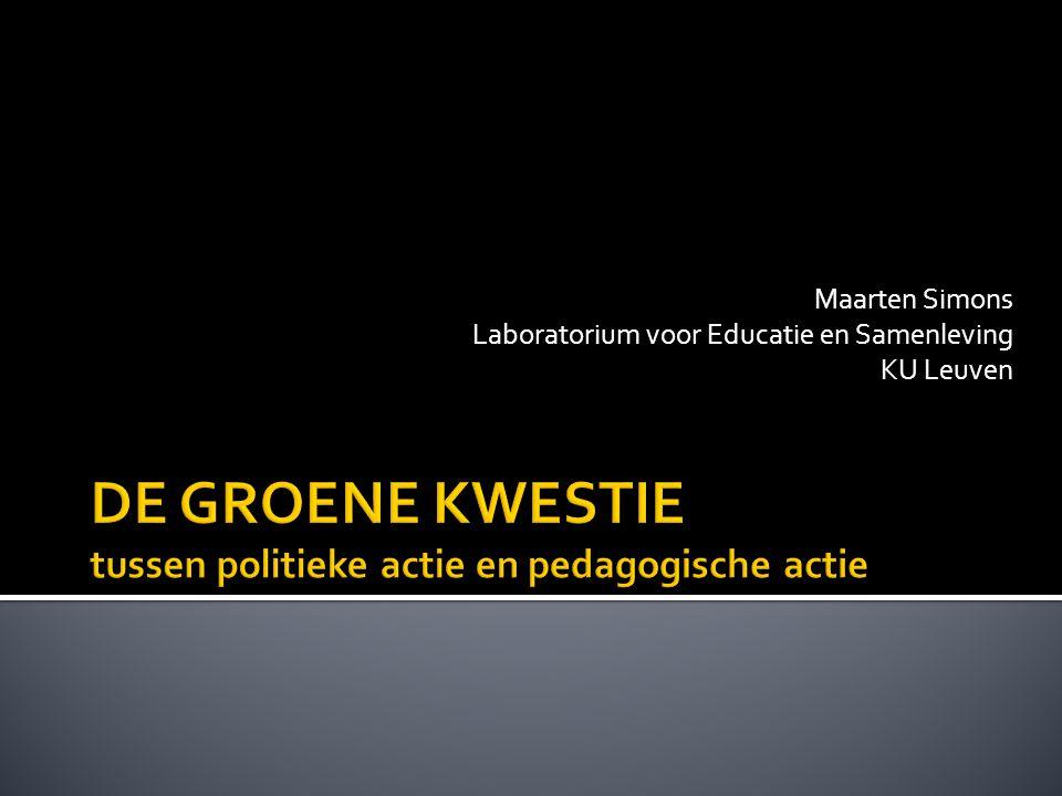 van rood naar groen naar beleid en leren voor duurzame ontwikkeling/groene economie grenzen van beleid: politieke actie grenzen van leren: pedagogische actie