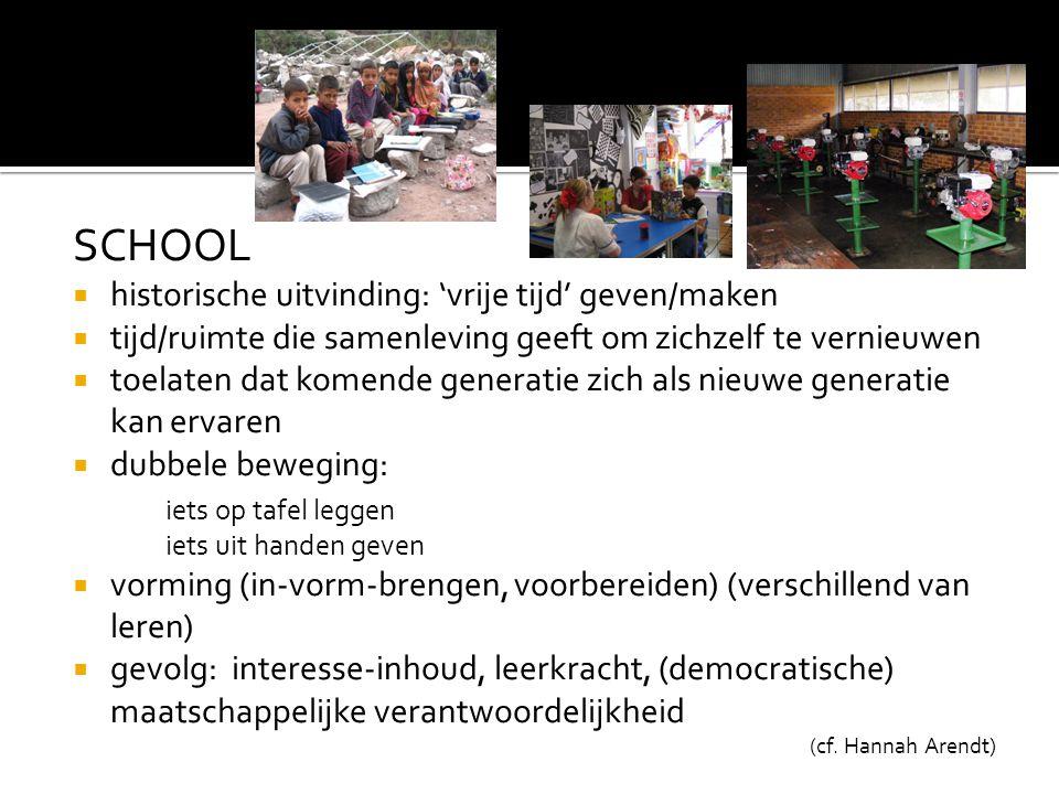 SCHOOL  historische uitvinding: 'vrije tijd' geven/maken  tijd/ruimte die samenleving geeft om zichzelf te vernieuwen  toelaten dat komende generat