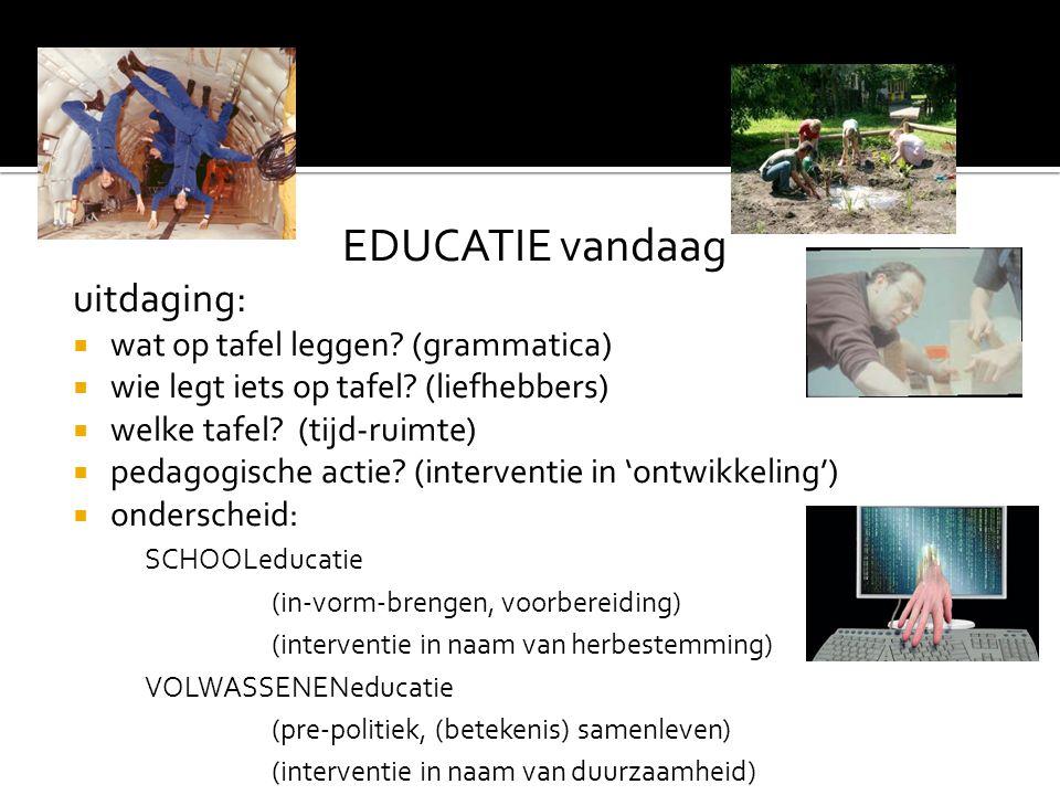 EDUCATIE vandaag uitdaging:  wat op tafel leggen? (grammatica)  wie legt iets op tafel? (liefhebbers)  welke tafel? (tijd-ruimte)  pedagogische ac