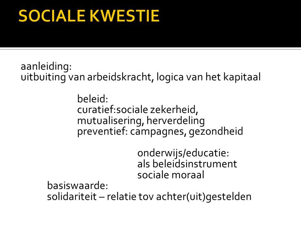 aanleiding: uitbuiting van arbeidskracht, logica van het kapitaal beleid: curatief:sociale zekerheid, mutualisering, herverdeling preventief: campagne