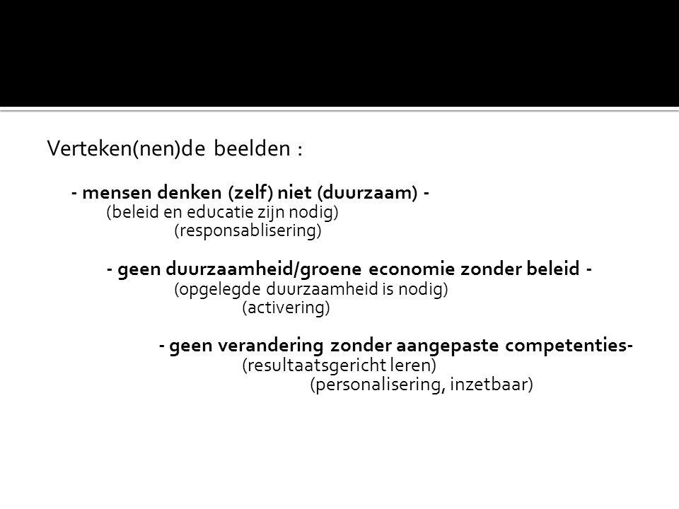 Verteken(nen)de beelden : - mensen denken (zelf) niet (duurzaam) - (beleid en educatie zijn nodig) (responsablisering) - geen duurzaamheid/groene econ