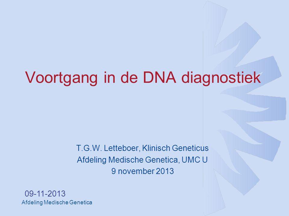 Afdeling Medische Genetica 09-11-2013 Voortgang in de DNA diagnostiek T.G.W.