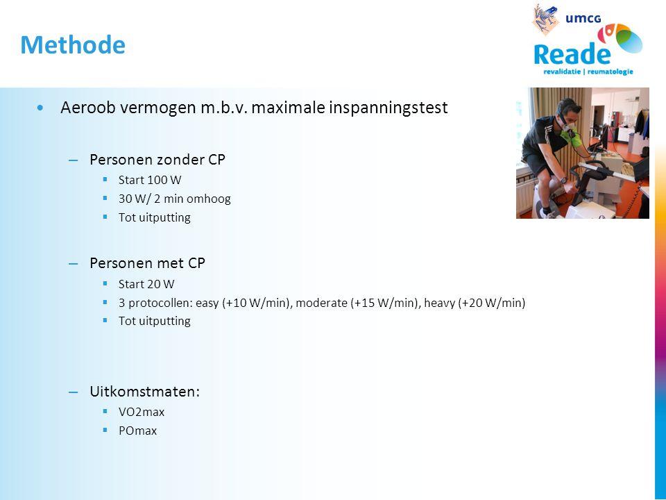 Methode •Aeroob vermogen m.b.v. maximale inspanningstest – Personen zonder CP  Start 100 W  30 W/ 2 min omhoog  Tot uitputting – Personen met CP 