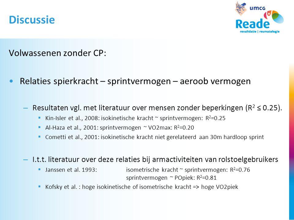 Discussie Volwassenen zonder CP: •Relaties spierkracht – sprintvermogen – aeroob vermogen – Resultaten vgl.